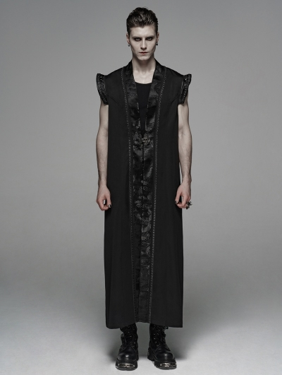 Black Vintage Gothic Chinese Style Long Waistcoat for Men