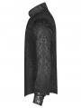Black Vintage Gothic Dragon Satin Jacquard Shirt for Men