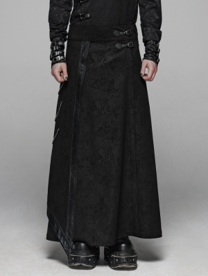 Black Retro Gothic Floral Long Overskirt for Men