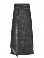 Black Retro Gothic Floral Long Overskirt for Men