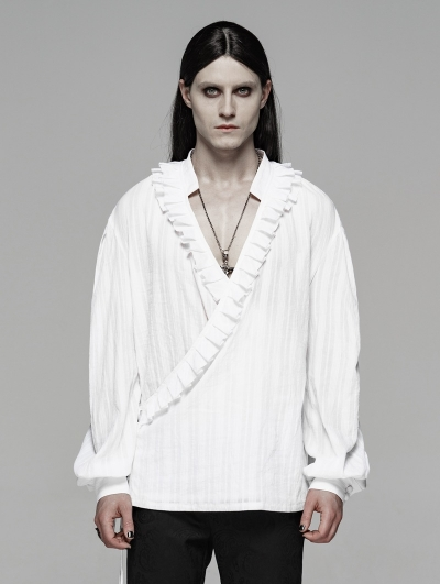 White Vintage Gothic Low-Cut Loose Shirt for Men