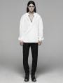 White Vintage Gothic Low-Cut Loose Shirt for Men