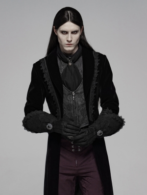 Black Gothic Victorian Luxuriant Nobility Gloves for Men
