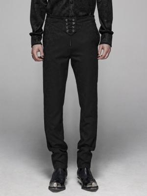 Black Retro Gothic Floral Swallow Suit Trousers for Men
