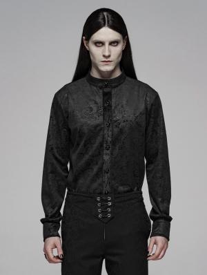 Black Retro Gothic Gentleman's Slim Shirt