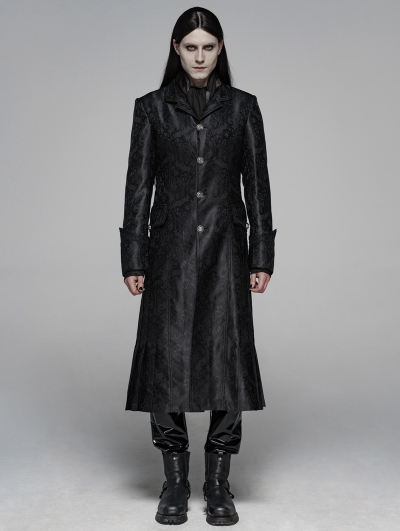Black Gothic Victoria Jacquard Long Coat for Men