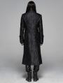 Black Gothic Victoria Jacquard Long Coat for Men