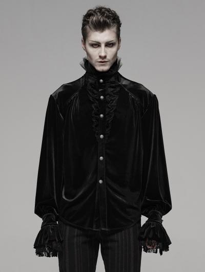 Black Retro Gothic Victorian Velvet Loose Shirt For Men
