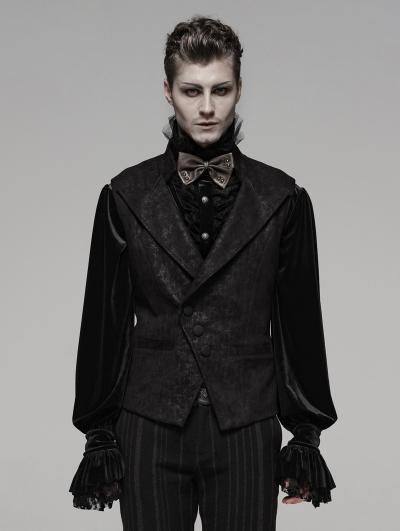 Black Retro Gothic Floral Short Waistcoat for Men