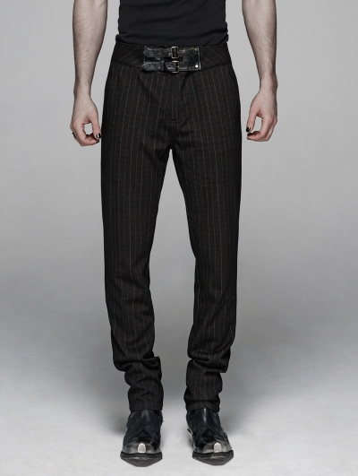 Black Gothic Gentleman Style Stripe Trousers