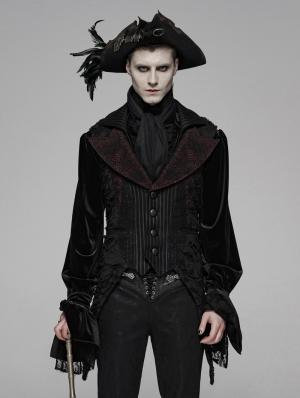 Red Gothic Decadent Asymmetric Masquerade Ball Vest for Men