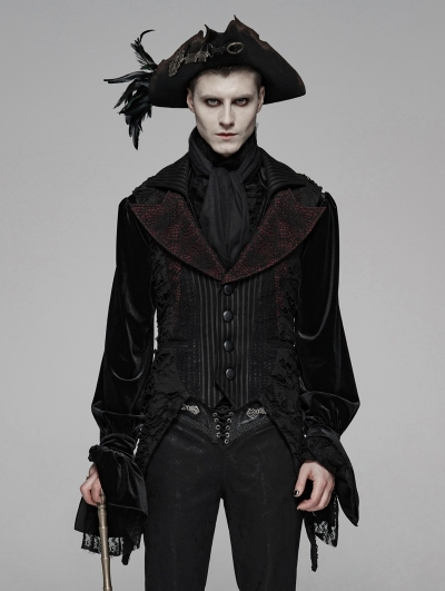 Red Gothic Decadent Asymmetric Masquerade Ball Vest for Men