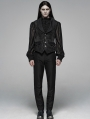 Black Gothic Victorian Jacquard Vest for Men