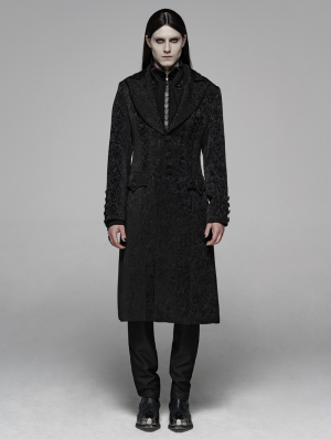 Black Vintage Gothic Jacquard Long Coat for Men