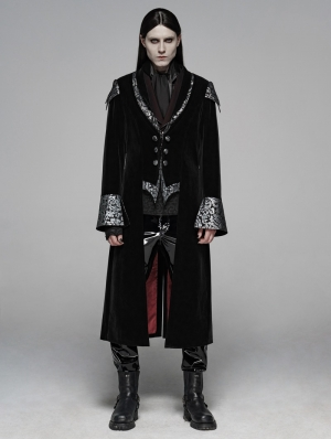 Black Gothic Masquerade Ball Long Coat for Men