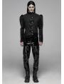 Black Vintage Gothic Striple Velvet Long Sleeve Shirt for Men