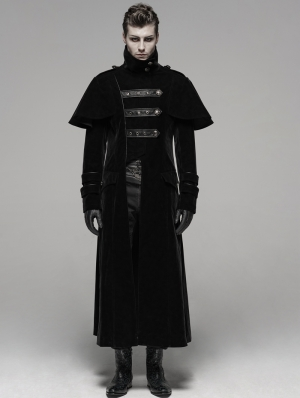 Black Gothic Military Uniform Long Cloak Coat for Men