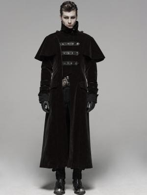 Coffee Gothic Military Uniform Long Cloak Coat for Men
