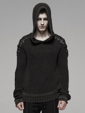 Black Gothic Punk Vintage Hooded Sweater for Men