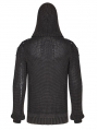 Black Gothic Punk Vintage Hooded Sweater for Men