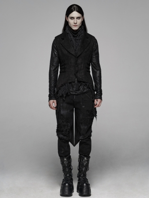 Black Gothic Floral Swallow-Tailed Waistcoat for Men