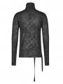 Black Dark Gothic Punk Turtleneck T-Shirt for Men