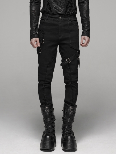 Black Gothic Punk Belt Chain Pants for Men
