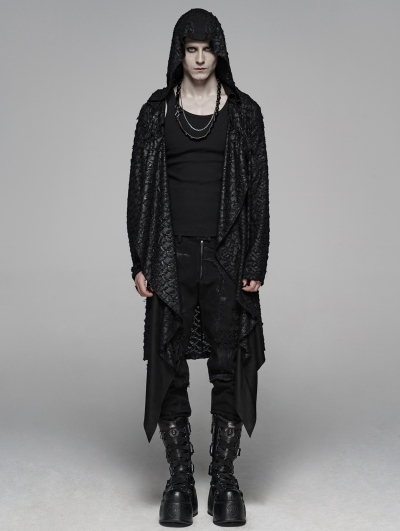 Black Vintage Gothic Punk Diablo Long Hooded Trench Coat for Men