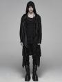 Black Vintage Gothic Punk Diablo Long Hooded Trench Coat for Men