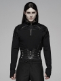 Black Gothic Punk Zipper Long Sleeve T-Shirt for Men