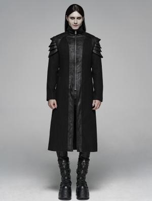 Black Gothic Punk Armor Long Coat for Men