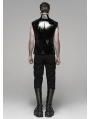 Black Gothic Military Bright Leather Waistcoat for Men