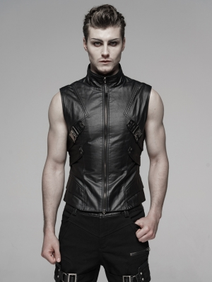 Black Gothic Punk Future Style Vest for Men