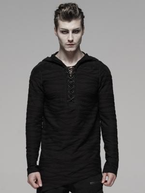 Black Gothic Dark Irregular Hoodie for Men