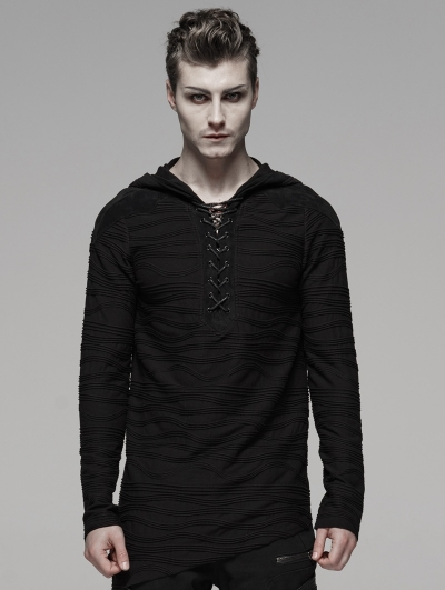 Black Gothic Dark Irregular Hoodie for Men