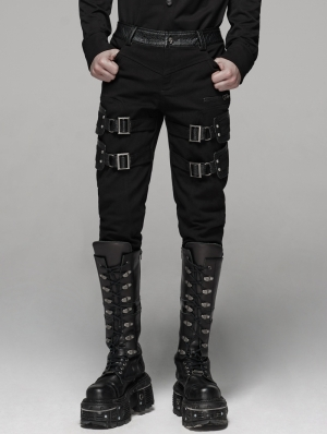 Black Gothic Punk Buckle Belt Handsome Stretch Trousers for Men