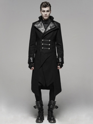 Black Gothic Punk Worsted Long Coat for Men