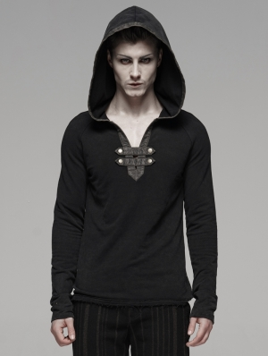 Black Gothic Punk Hoodie for Men