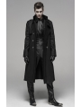 Black Gothic Military Style Long Thick Jacket for Men
