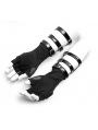 Black Gothic Punk PU Leather Gloves for Men