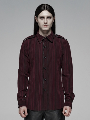 Red Gothic Military Style Long Sleeve Stripe Shirt for Men
