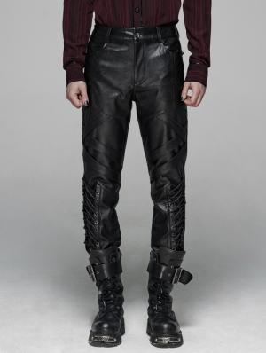 Black Gothic Punk Elastic PU Leather Pants for Men