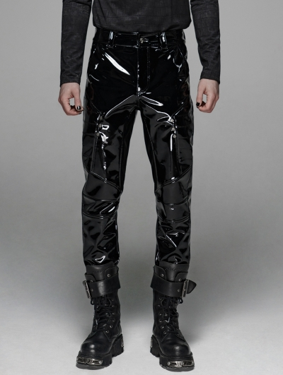 Black Gothic Military Bright Leather Pants for Men