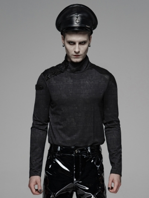 Black Gothic Military Style Long Sleeve T-Shirt for Men