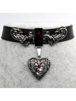 Black Vintage Gothic Heart PU Leather Choker Necklace