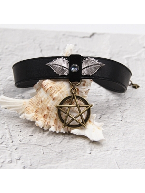 Black Vintage Gothic Pentagram PU Leather Choker Necklace