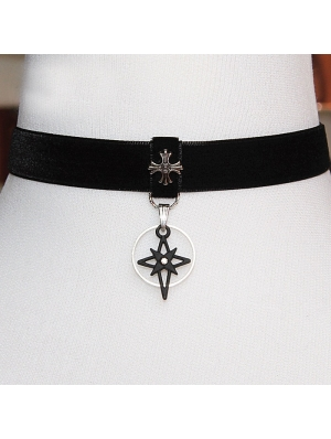 Black Vintage Gothic Cross Velvet Choker Necklace