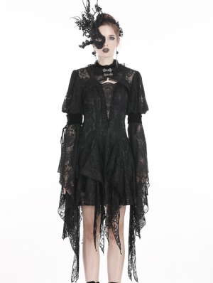 Black Gothic Retro Lace Long Sleeve Cape for Women