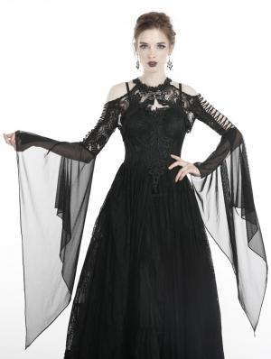 Black Gothic Retro Lace Off-the-Shoulder Cape for Women