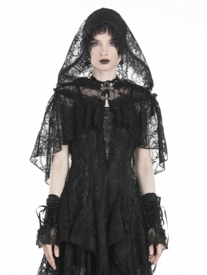 Black Gothic Gorgeous Lace Hooded Cape Shawl for Women